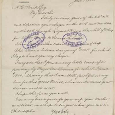 Letter from John Wanamaker to Henry Clay Frick, 9 January 1888