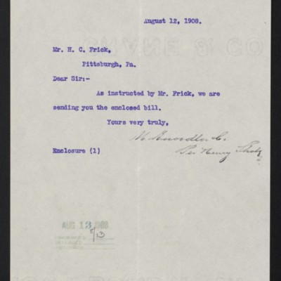 Letter from M. Knoedler & Co. to Henry Clay Frick, 12 August 1908