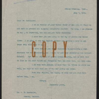 Letter from Henry Clay Frick to Charles S. Carstairs, 7 July 1916