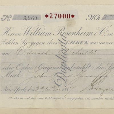 Lazard Freres & Co. Receipt, 29 December 1887