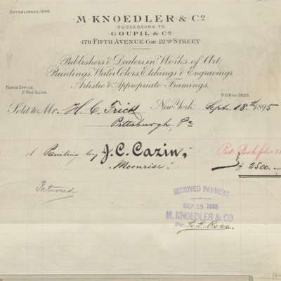 M. Knoedler & Co. Invoice, 18 September 1895