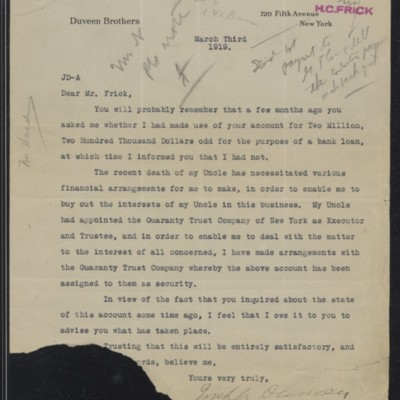 Letter from Joseph Duveen to Henry Clay Frick, 3 March 1919